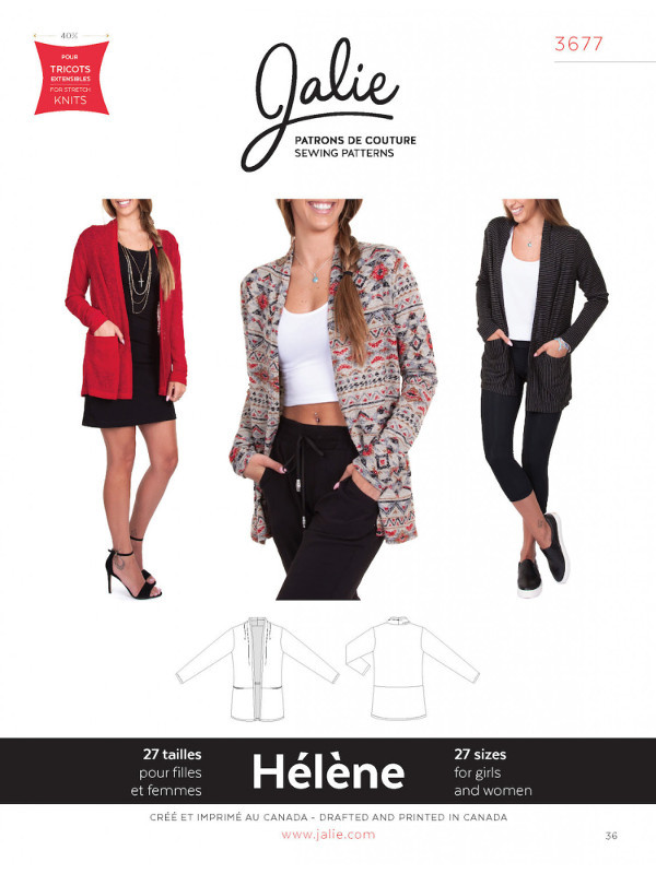 Helene Shawl Collar Cardigan Pattern - Jalie Patterns
