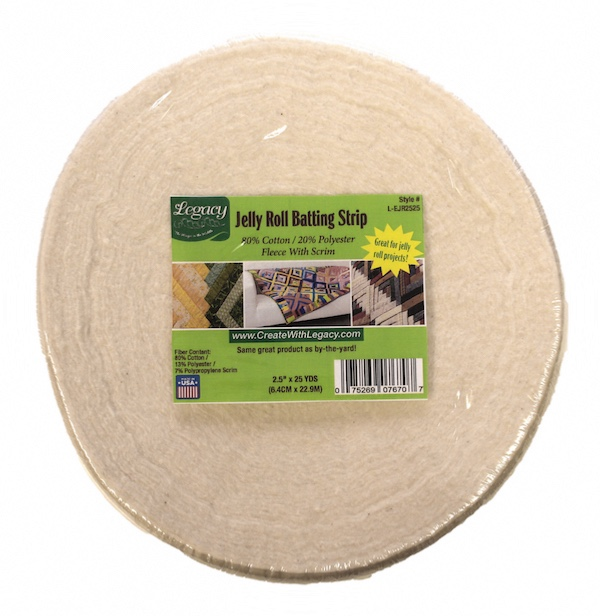 Legacy 80/20 Cotton Polyester Batting with Scrim - 2.25in x 23m (25yds) Jelly Roll Strip