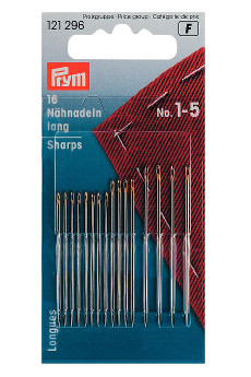 Prym Hand Sewing Needles Sharps 1-5 Assorted With Gold Eye 16pcs