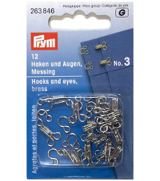 Prym Hooks And Eyes Brass Size 3 Silver Colour