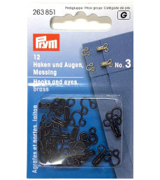 Prym Hooks And Eyes Brass Size 3 Black Colour