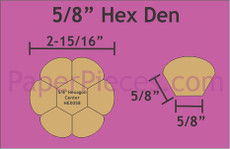 5/8in Hex Dresden Small Pack 6 Complete Plates - Paper Pieces
