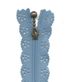 Lace Zip 20cm Length - Light Blue