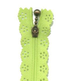 Lace Zip 20cm Length - Lime