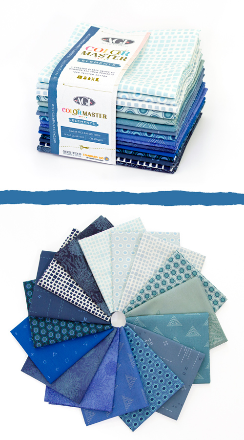 Color Master Elements Calm Ocean Edition 16 Pieces Fat Quarter Bundle