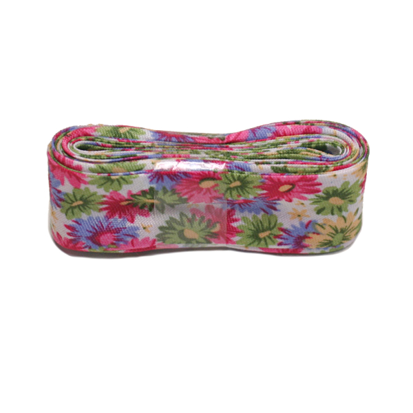 Lime / Fuchsia Large Flowers Bias Binding Double Fold Printed - 20mm X 3m