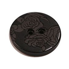 Acrylic Button 2 Hole Engraved 23mm Black