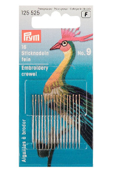 Prym Fine Embroidery Needles Ht 9 With Gold Eye 16pcs