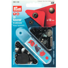 Prym Non-sew Press Fasteners 12mm Brass Black Oxidized - 10 Pieces