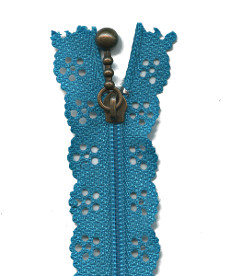 Lace Zip 20cm Length - Teal