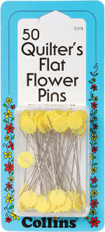 Collins Flat Flower Pins Yellow 50 per pack
