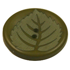 Acrylic Button 2 Hole Leaf Engraved 28mm Olive