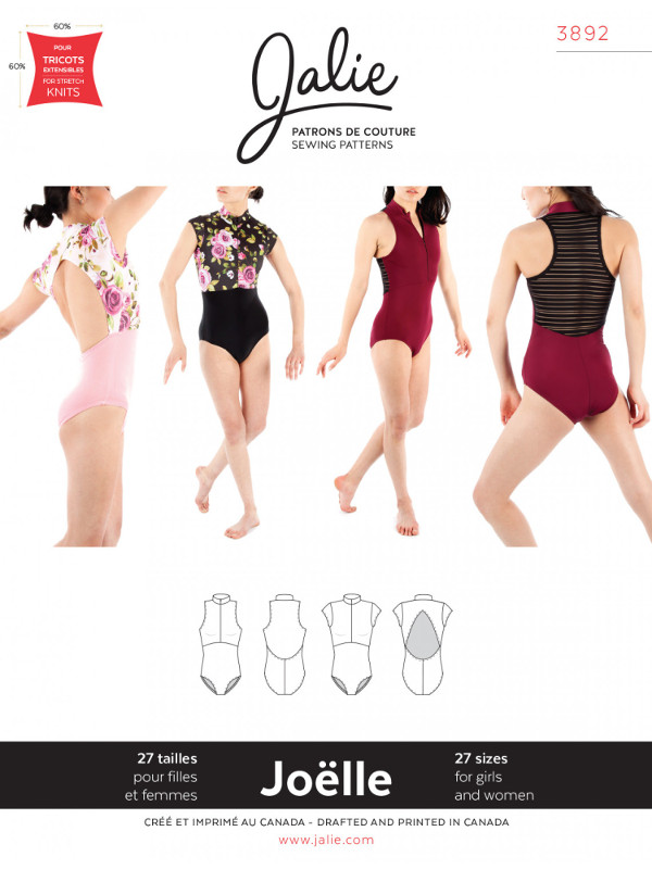 Joelle Half-Zip Leotards Pattern - Jalie Patterns
