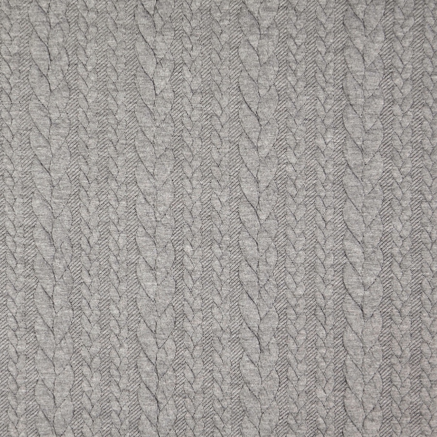 Barso Grey Heathered Cable Jacquard Knit Fabric