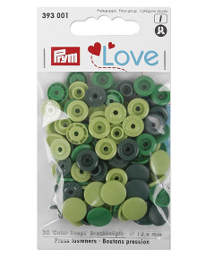 Prym Assorted Greens Non-sew Colour Snaps - 12.4mm 30 Pieces