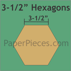 3.5 Inch Hexagons Small Pack 18 Pieces - Paper Piecing