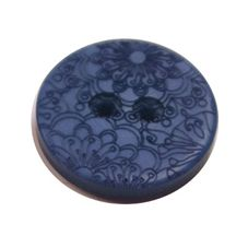 Acrylic Button 2 Hole Engraved 28mm Deep Blue