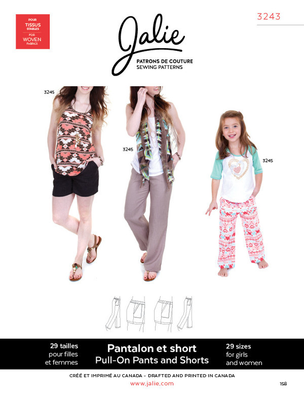 Pull On Trousers And Shorts Pattern - Jalie Patterns