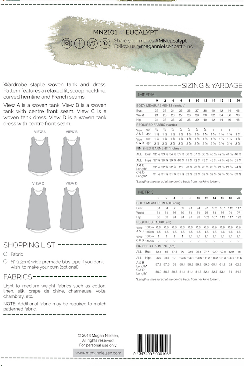 Eucalypt Dress And Tank Pattern - By Megan Nielsen