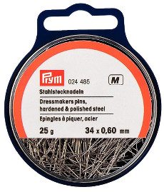 Prym Straight Pins Silver Colour 0.60 X 34mm