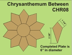 8in Chrysanthemum Small Pack 2 Complete Plates- Paper Piecing