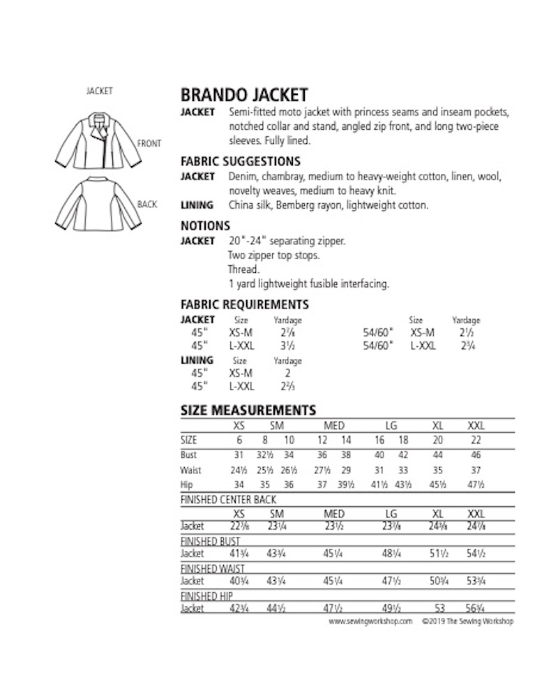 Brando Jacket Pattern By The Sewing Workshop