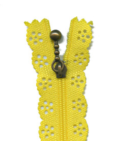 Lace Zip 20cm Length - Yellow