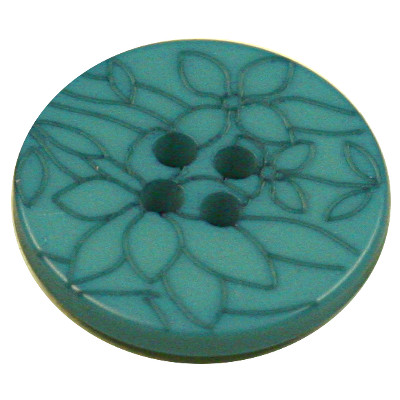 Acrylic Button 4 Hole Flower Engraved 18mm Turquoise