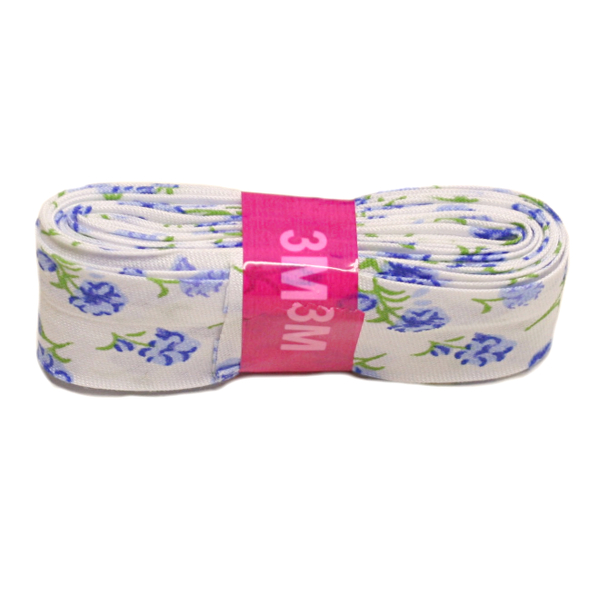 Blue Flower Bias Binding Double Fold Printed - 20mm X 3m