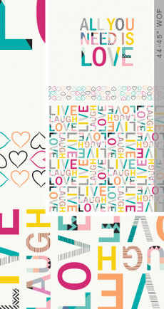 Letters All You Need Is Love (24 Inch Panel) - Art Gallery Fabric 44in/45in Per Metre