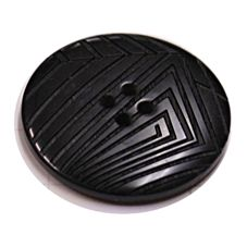 Acrylic Button 4 Hole Deep Ridged 25mm Black