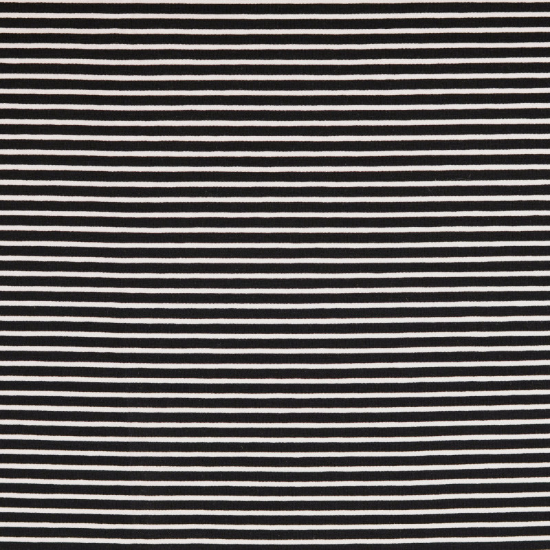 Nantes Black and White Striped Knit Fabric