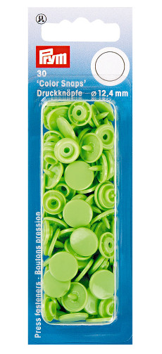 Prym Apple Green Non-sew Colour Snaps - 12.4mm 30 Pieces