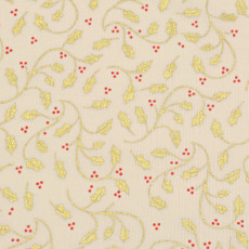 Christmas 140cm Wide/metre - Gold Holly And Berries On Cream - 147