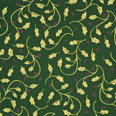 Christmas 140cm Wide/metre - Gold Holly And Berries On Green - 149
