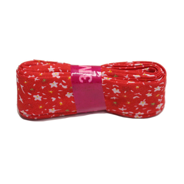 Red Small Flowers Bias Binding Double Fold Printed - 20mm X 3m