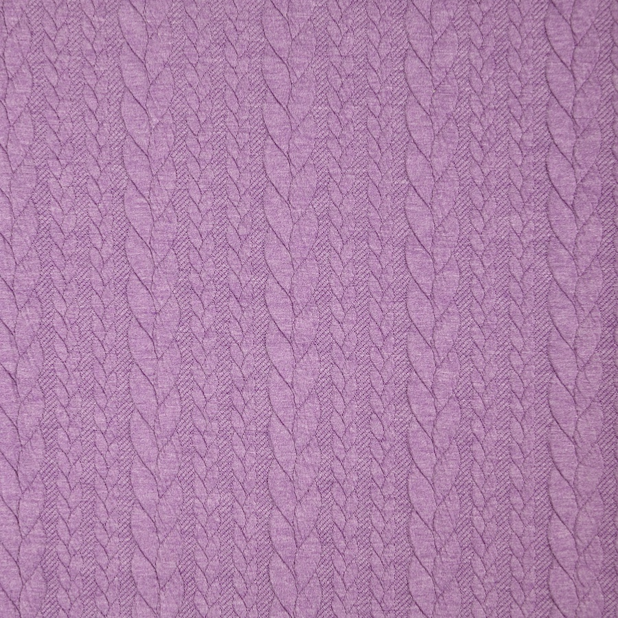 Barso Mauve Heathered Cable Jacquard Knit Fabric