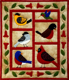 Miniature Quilt Kit - Backyard Birds 13in X 15in