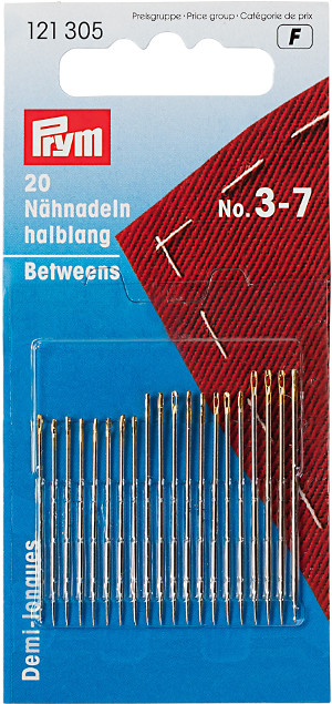 Prym Hand Sewing Needles Betweens 3-7 Assorted With Gold Eye 20pcs