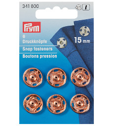 Prym Sew-On Snap Fasteners 15mm Rose Gold on Brass 6 Pieces