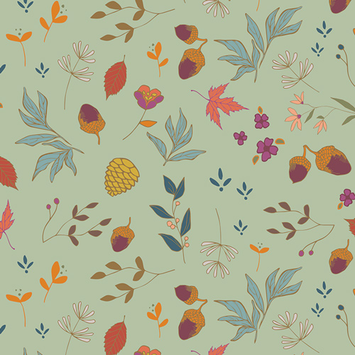 Acorns & Pinecones Mint From Autumn Vibes Designed By Maureen Cracknell For AGF