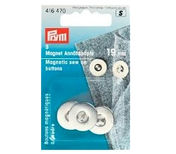 Prym Magnetic Sew-on Buttons 19mm Silver Col 3pcs