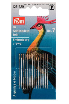 Prym Fine Embroidery Needles Ht 7 With Gold Eye 16pcs