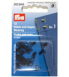 Prym Hooks And Eyes Brass Size 1 Black Colour
