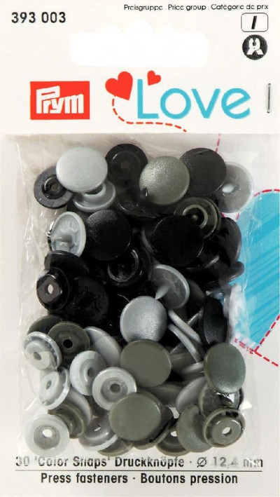 Prym Assorted Greys Non-sew Colour Snaps - 12.4mm 30 Pieces