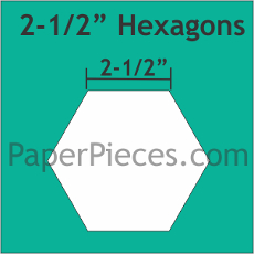 2.5in Hexagons Small Pack 24 Pieces - Paper Piecing