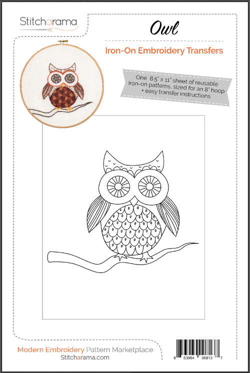 Owl Iron-On Embroidery Transfers