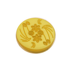 Acrylic Button 2 Hole Engraved 14mm Yellow