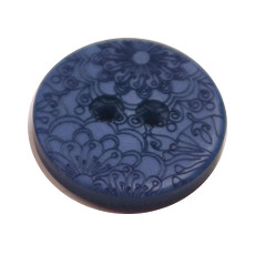 Acrylic Button 2 Hole Engraved 23mm Deep Blue