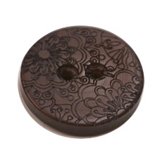 Acrylic Button 2 Hole Engraved 28mm Chocolate